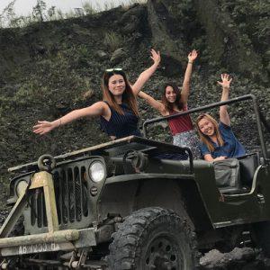 tourists enjoying the jeep tour