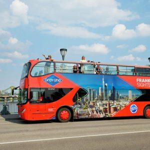 open-top double-decker bus around frankfurt