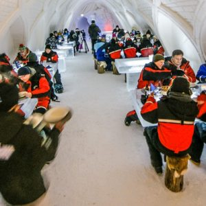 people eating in snowrestaurant