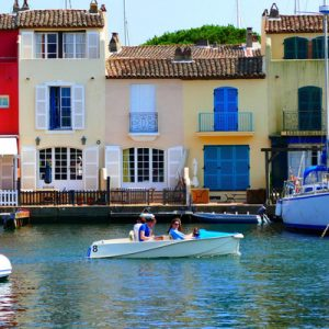 colorful building at saint tropez docks