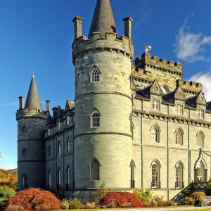 inveraray castle with trees