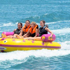 tourists enjoy boat ride