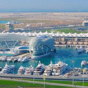 aerial view of the yas marina circuit in abu dhabi for the full day tour