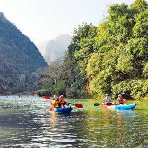 kuang si waterfalls kayak and whiskey village day tour
