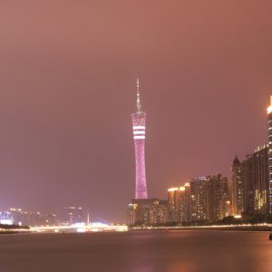 view of pearl river at night