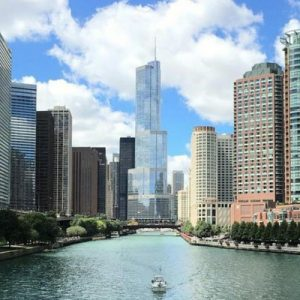 a view of Chicago in the middle of the Chicago River