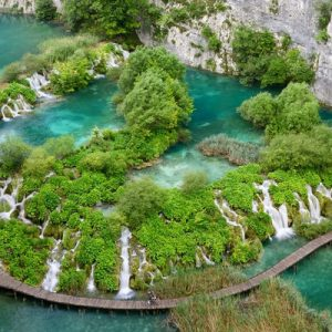 aerial view of plitvice lakes national park