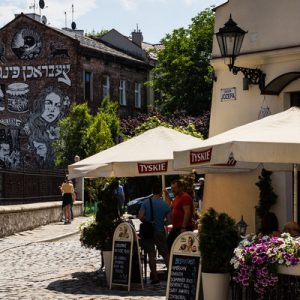 a street and a cafés somewhere in the Kazimierz Jewish Quarter