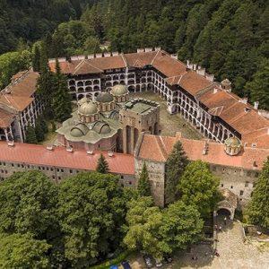 top view of rila monastery