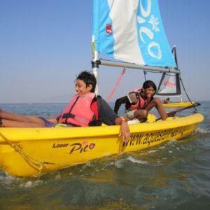 tourists enjoy a sailing activity in goa