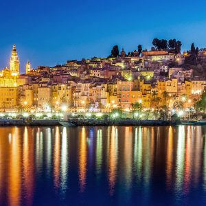 menton village landscape at night