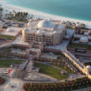 aerial view of the emirates palace in abu dhabi for half day tour