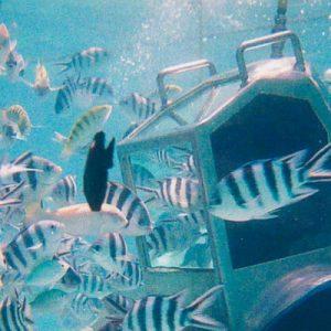 Walking under water in Mauritius