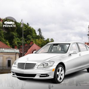white sedan for airport transfers for Ljubljana