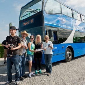 blue open top hop on off bus munich