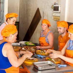 tourists in a cooking class in siem reap