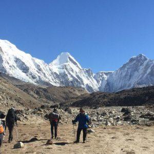 people trekking on the mount everest base