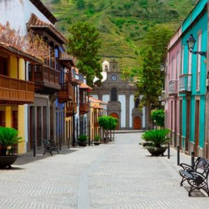 colorful buildings of calle real de la plaza