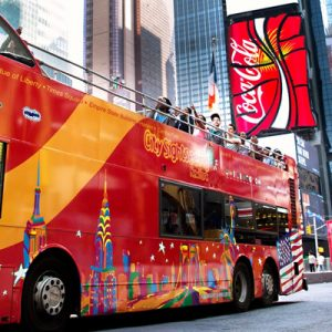 a Gray Line City Sightseeing double-decker bus in New York