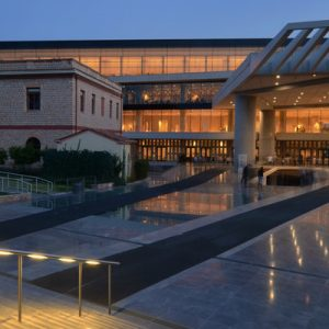 a view of the Acropolis Museum at night