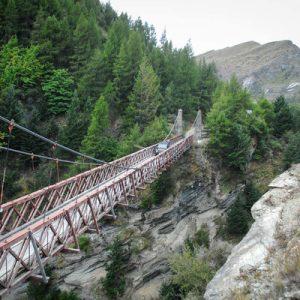 car traveling on skippers suspension bridge