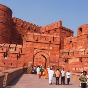 facade of fort agra in india