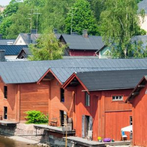 red warehouses in porvoo