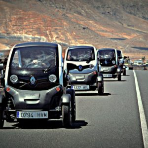 twizy car exploring timanfaya national park