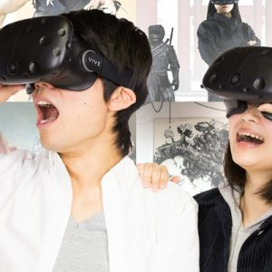 two guests wearing the vr goggles for ninja vr kyoto