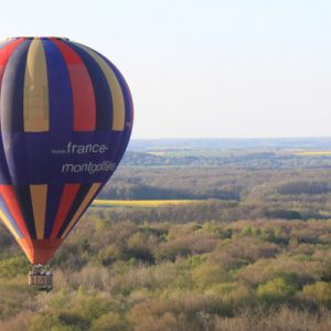 hot air balloon flying over forest