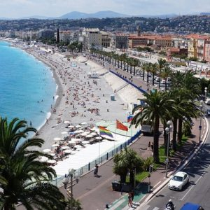 a view of the Promenade des Anglais in Nice