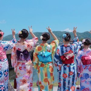 group of friends wearing a kimono