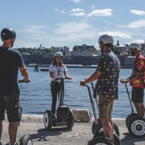 people riding segways with tour guide for the stockholm segway tour