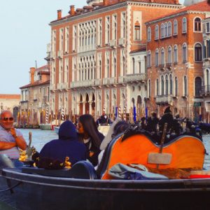 tourists on a gondola