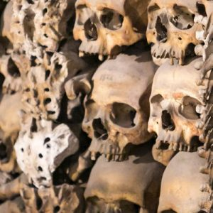 skulls and bones adorning the walls of a Roman catacomb