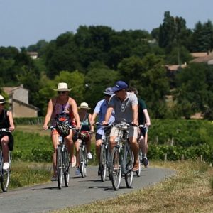 people biking around Saint-Émilion