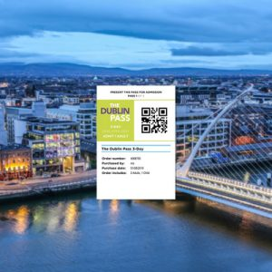 a sample qr code for the dublin pass with dublin panoramic view in the background