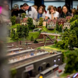 tourists looking at models in miniatur wunderland