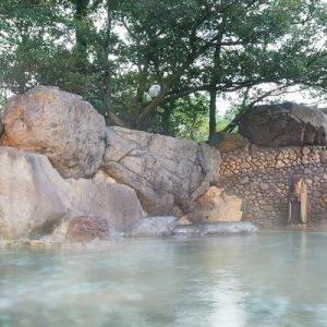 a view of the Gero Onsen open air hot springs; there are rocks on the left and trees looming over the hot spring
