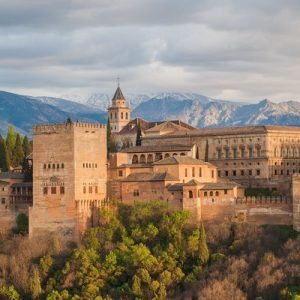 panoramic view of the alhambra palace