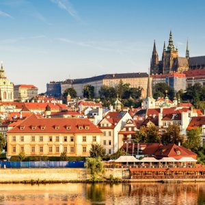 panoramic view of prague city and buildings