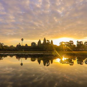 sunrise view in angkor wat