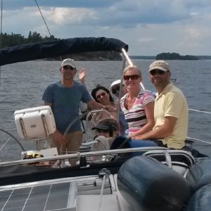 tourists aboard a luxury yacht in the baltic sea