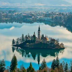 a view of Lake Bled from above