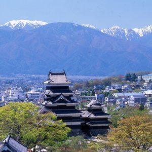 Matsumoto castle and aerial view of Matsumoto city