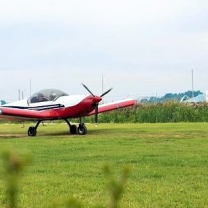 plane parked on grass