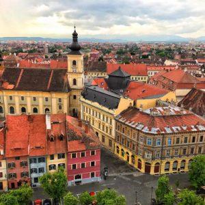 a panoramic view of Sibiu