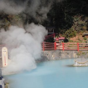 a hot spring with fog fizzing out