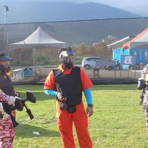 two teams facing before a paintball game