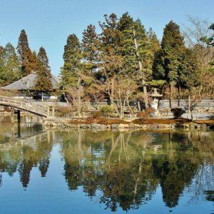 zen garden and lake in eihoji temple
